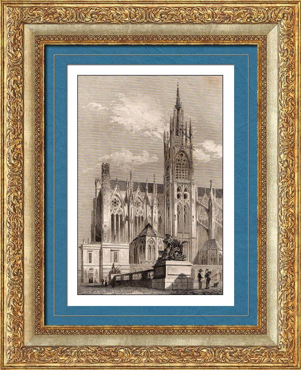 Gravures Anciennes & Dessins | Cathédrale Saint-Étienne de Metz (Moselle - France) | Taille-douce | 1845