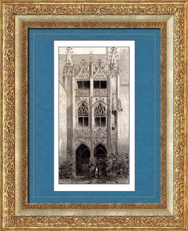 Gravures Anciennes & Dessins   Château Dunois de Châteaudun (France) - Escalier   Taille-douce   1845