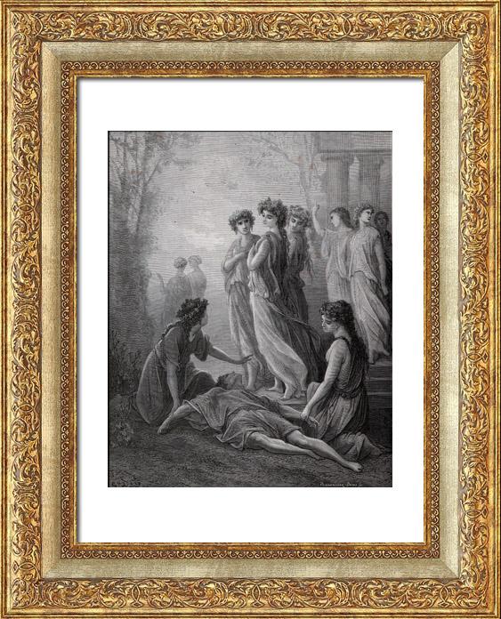 Gravures Anciennes & Dessins   Fables de La Fontaine - Daphnis et Alcimadure (Gustave Doré)   Gravure sur bois   1868