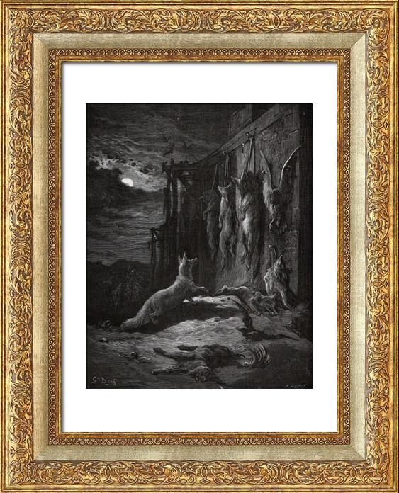 Gravures Anciennes & Dessins   Fables de La Fontaine - Le Renard Anglois (Gustave Doré)   Gravure sur bois   1868