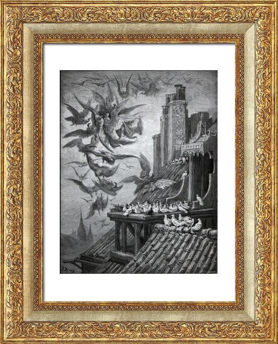 Gravures Anciennes & Dessins | Fables de La Fontaine - Les Vautours et les Pigeons (Gustave Doré) | Gravure sur bois | 1868