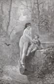 Gravure ancienne - Fables de La Fontaine - La Fortune et le Jeune Enfant (Gustave Doré)