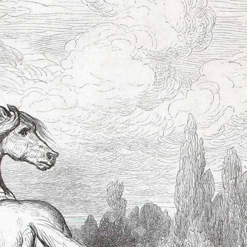 gravures anciennes fables de la fontaine le cheval et le loup gustave dor gravure sur. Black Bedroom Furniture Sets. Home Design Ideas