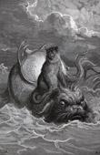 Gravura antiga - Fábulas de La Fontaine - O Macaco e o Delfim (Gustave Doré)