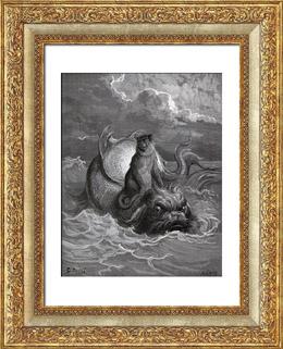 F�bulas de La Fontaine - O Macaco e o Delfim (Gustave Dor�)