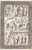 Gravure ancienne - Mérovingiens - Baptême de Clovis Ier  - Roi des Francs - Saint Rémi - Diptyque - France