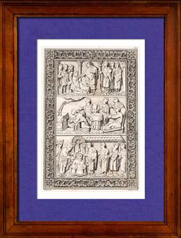 Mérovingiens - Baptême de Clovis Ier  - Roi des Francs - Saint Rémi - Diptyque - France