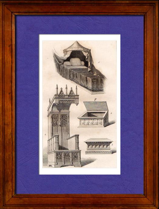 Gravures Anciennes & Dessins | Meubles Anciens -14ème Siècle - Bois Sculpté - Chaire - Lit | Taille-douce | 1845