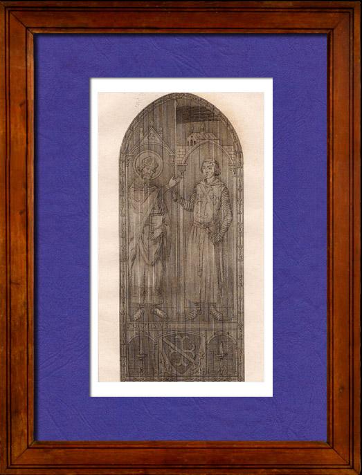 Gravures Anciennes & Dessins | Vitrail - Cathédrale de Chartres - XIIIème Siècle - Saint Denis donne l'Oriflamme à Henri de Metz maréchal de France | Taille-douce | 1845