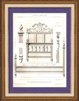 Drawing of Architect - Architecture - Woodworking - Bed - Castle of Stors