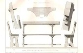 Drawing of Architect - Architecture - Woodworking - Oak Bench - Protestant Temple of N�grepelisse,Tarn-et-Garonne (J. Bourdais)