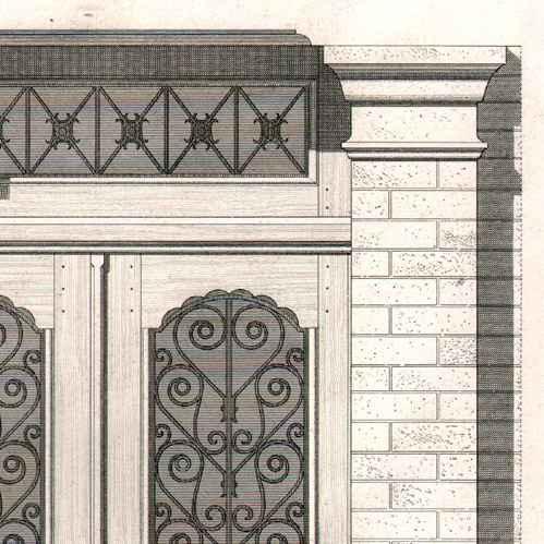Stampe antiche disegno di architetto architettura - Architetto porta ...