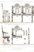 Drawing of Architect - Architecture - Woodworking - Stalles - Protestant Temple of N�grepelisse,Tarn-et-Garonne (J. Bourdais)