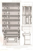 Drawing of Architect - Architecture - Woodworking - Shop of a Pastry in Cormery, Indre et Loire (E. Bonnet)