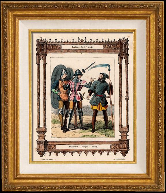 Gravures Anciennes & Dessins | Modes et Costumes Français - 14ème Siècle - XIVème Siècle - Soldat - Arbalète - Voulgier - Paysan | Taille-douce | 1855