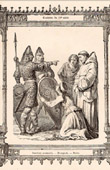 Antique print - French Fashion and Costumes - 10th Century - Xth Century - Norman Warriors - Monk