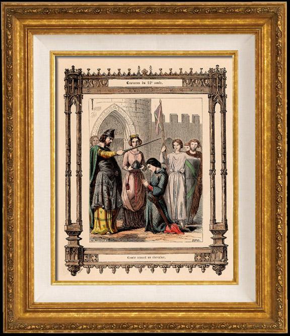 Gravures Anciennes & Dessins | Modes et Costumes Français - 12ème Siècle - XIIème Siècle - Chevalier | Taille-douce | 1855