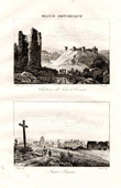Ruins of Lehon Castle in Dinan - View of Saint Brieuc (C�tes d'Armor - France)