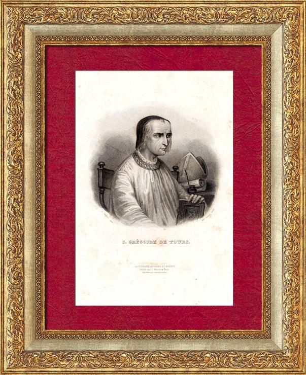 Grabados & Dibujos Antiguos | Retrato de Gregorio de Tours (539-594) | Grabado en talla dulce | 1835