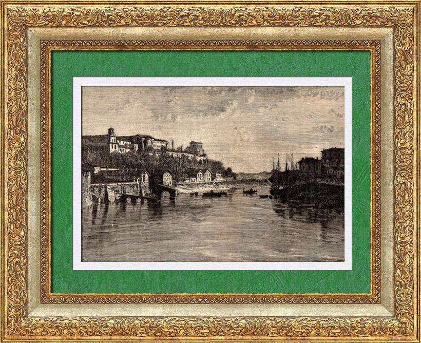 Gravures Anciennes & Dessins | Vue d' Italie - Le Tibre - Mont Fumaiolo - Mer Tyrrhénienne - Rome - Latium - Aventin - Collines de Rome | Gravure sur bois | 1891