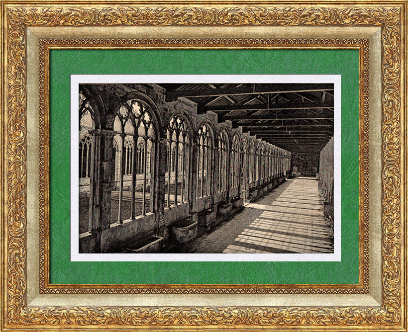 Antique Prints & Drawings   View of Italy - Campo Santo Cloister in Pisa - Monumental Cemetery - Camposanto monumentale - Tuscany   Wood engraving   1891