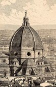 View of Florence (Italy) - Basilica di Santa Maria del Fiore - Gothic style - Giotto's Bell Tower - Frescoes by Giorgio Vasari - Huge Clock Decorated by Paolo Uccello (Italy)