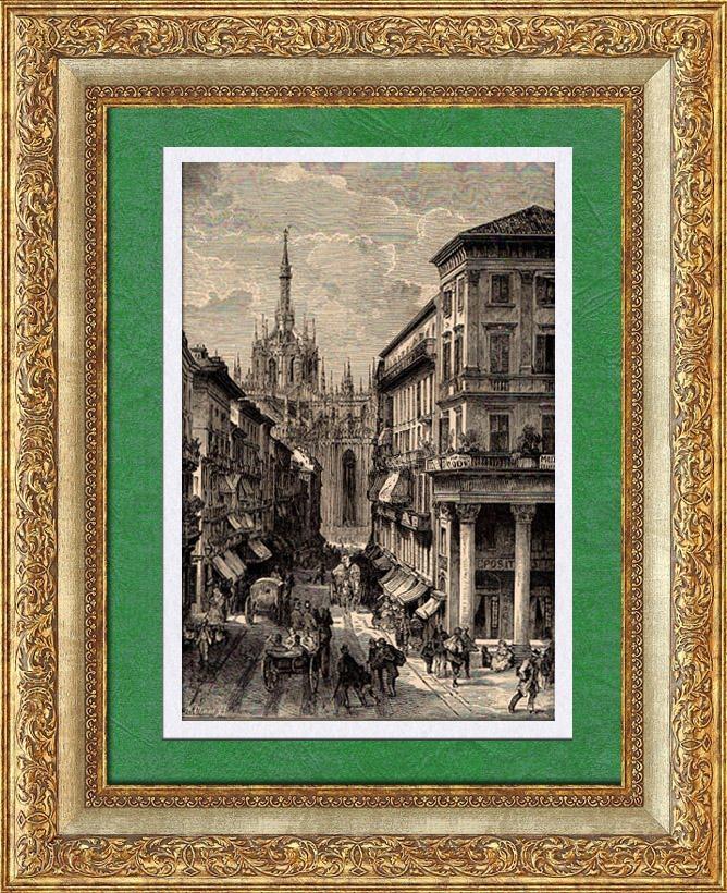 Gravures Anciennes & Dessins   Vue de Gênes (Italie) - Ligurie   Gravure sur bois   1891