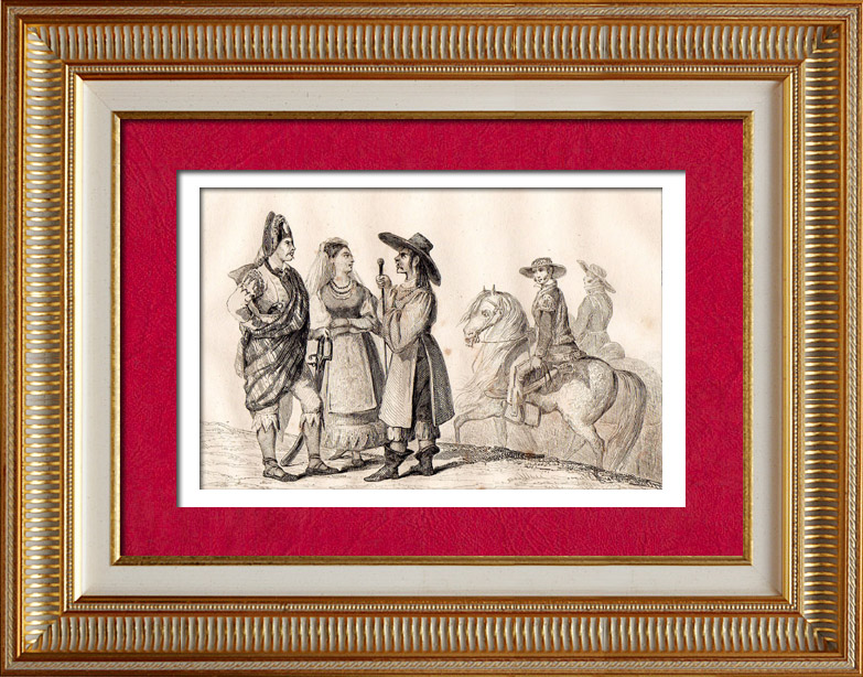 Antique Prints & Drawings | Mexico - Mexican Traditional Costume | Intaglio print | 1838