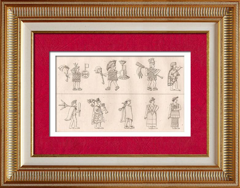 Antique Prints & Drawings | Mexico - Traditional Costume - Time of Montezuma - Moctezuma - Aztec | Intaglio print | 1838