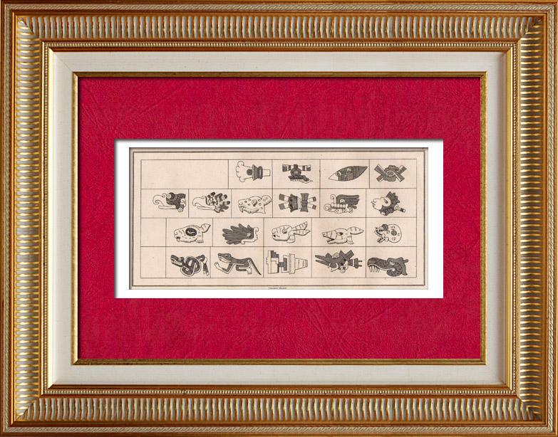 Gravures Anciennes & Dessins   Mexique - Almanach Aztèque - Mexica - Hiéroglyphes   Taille-douce   1838