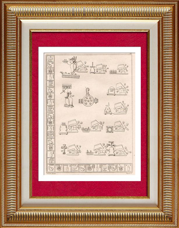 Antique Prints & Drawings | Mexico - Montezuma - Moctezuma - Aztec - Hieroglyphs | Intaglio print | 1838
