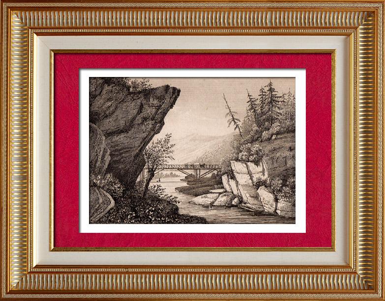 Gravures Anciennes & Dessins | États-Unis d'Amérique - Luzerne - Pont sur l'Hudson | Taille-douce | 1838