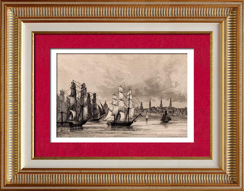 Gravures Anciennes & Dessins   États-Unis d'Amérique - Vue de Boston - Voilier - Départ de la Flotte Anglaise   Taille-douce   1838