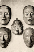 Japanese art - Wood Sculptures - Masks - Drama Noh - XVIIth Century