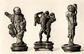 Japanese art - Wood Sculptures - Netskes - Miniature - Wrestler - Child - XVIIth Century -  XVIIIth Century