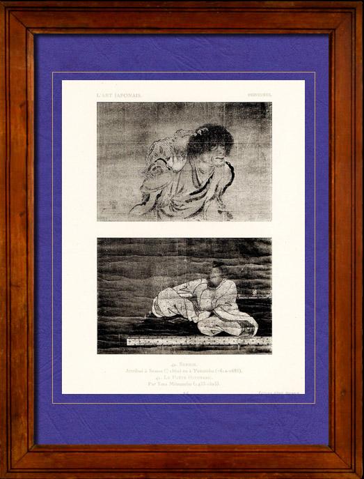 Gravures Anciennes & Dessins | Art Japonais - Peinture - Hitomaru - Poète Japonais - D'après Tosa Mitsunobu - Sennin - D'après Sesson ou Yasunobu | Héliotypie | 1924