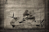 Japanese art - Painting - Two Pigeons - India Ink - By Sesson - XVIth Century