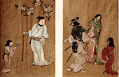 Japanese art - Painting - Screen - Japanese family - Matahei - Ukiyoyé School - XVIth Century