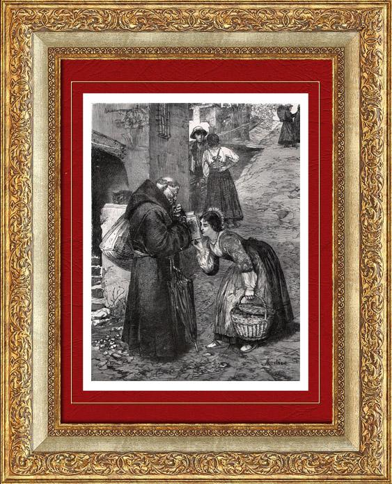 Gravures Anciennes & Dessins | Moine Mendiant de la Brianza - Lombardie (Italie) | Gravure sur bois | 1877