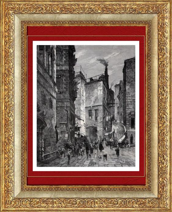Gravures Anciennes & Dessins | Vue de Gênes - Via San Luca - Ligurie (Italie) | Gravure sur bois | 1877