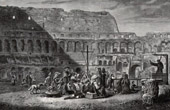 View of Rome - Preaching in Colosseum - Roman Coliseum - Flavian Amphitheater (Italy)