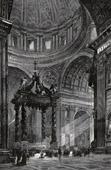Grabado antiguo - Vista de Roma - Interior del Basílica de San Pedro - Altar de la Confesión (Italia)