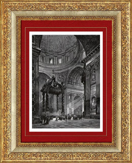 Ansicht von Rom - Inneres Basilika Sankt Peter - Sankt Petrus - Petersdom - Peterskirche - Petersbasilika - Altar der Beichte (Italien)