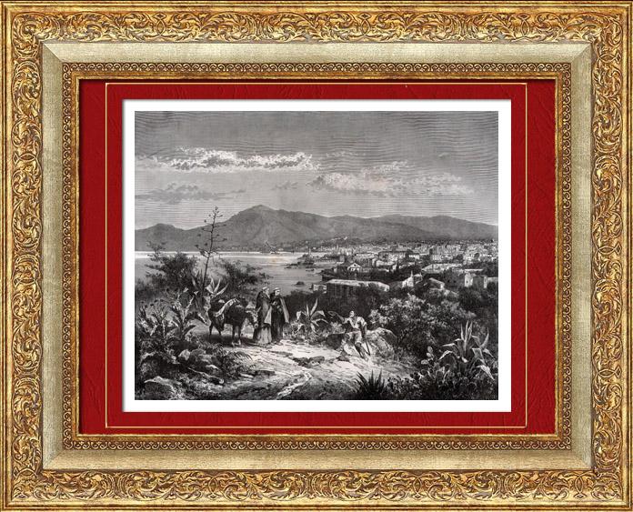 Gravures Anciennes & Dessins | Vue de Palerme - Sicile (Italie) | Gravure sur bois | 1877