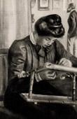 Portrait of Mademoiselle Christine Lerolle - Jeune Fille au M�tier (Auguste Renoir)