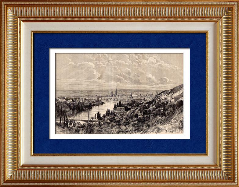 Gravures Anciennes & Dessins | Vue de Rouen - Coteaux de Bonsecours (France) | Gravure sur bois | 1898