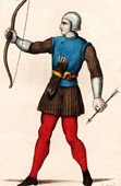 Print of Costumes - 13th Century - XIIIth Century - Archer - Bowman