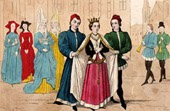 French Costumes - XIVth Century - Wedding in a village
