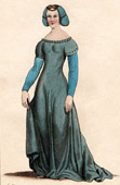 French Fashion - Costumes of Paris - XIVth Century - Lady of the Nobility - Court Lady