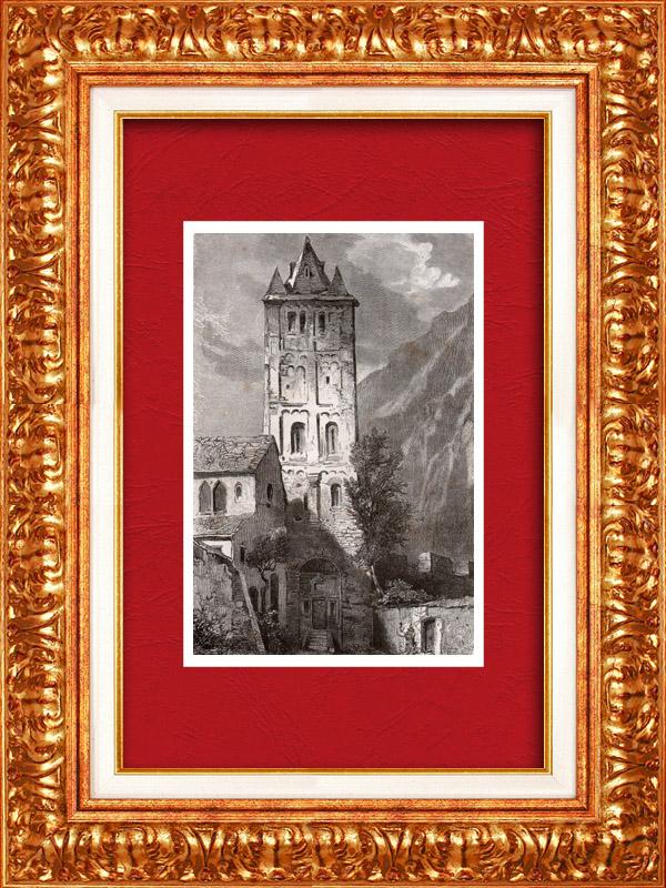 Antique Prints & Drawings | View of Martigny en Valais - Canton of Valais (Switzerland) | Wood engraving | 1877